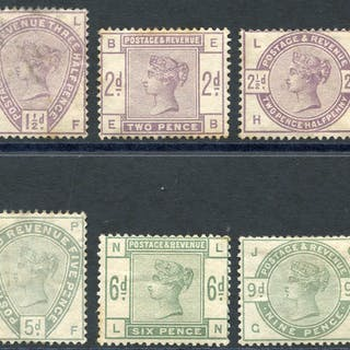 1883 lilac & green set, complete, SG.187/196.