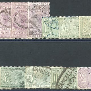 JUDICATURE FEES 1881 wmk Orbs from 1d to £1