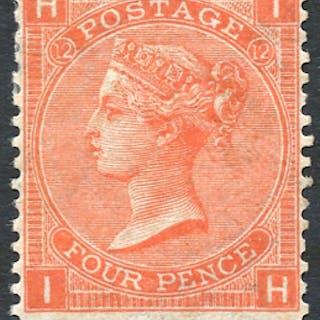 1865-67 wmk Large Garter 4d deep vermilion, SG.95, Cat. £575