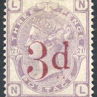 1883 3d on 3d lilac,SG.159. Cat. £650