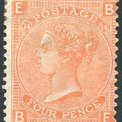 1865 wmk Large Garter, 4d dull vermilion, SG.93, Cat. £575.