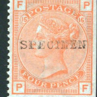 1873-80 wmk large garter 4d vermilion