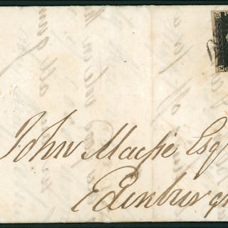 1843 cover from Greenock to Edinburgh