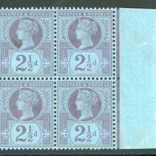 1887 Jubilee 2½d purple/blue block of four