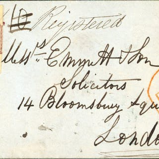 1854 July 13th cover to London franked 6d dull lilac embossed