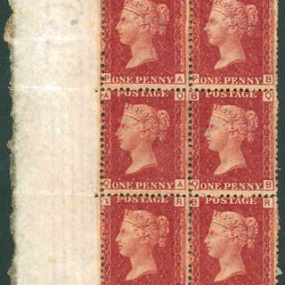 1864-79 1d lake red, Plate 214, left hand block of six
