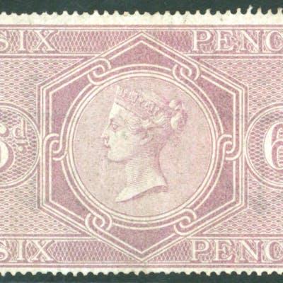 1860-67 wmk W40 Anchor 6d reddish lilac, SG.F17, Cat. £110