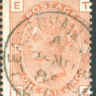 1881 wmk Imperial Crown 1s orange-brownn Pl.13