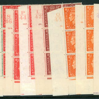 1941 light colour Defins in corner marginal control blocks of six