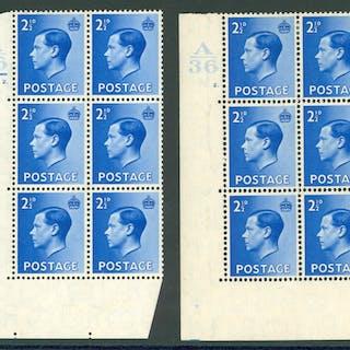 1936 2½d bright blue SG.460 corner marginal UM control block of six