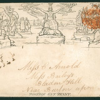 1840 Oct 6th one penny envelope from Coventry to Bladen Hall