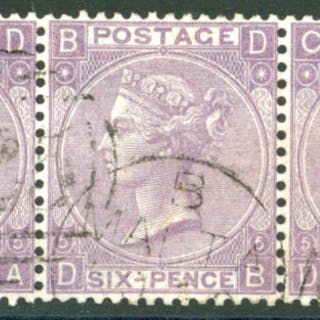 Malta 1865-67 wmk Emblems 6d lilac, horizontal strip of three, SG.Z57.
