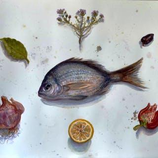 Poisson bleu avec fruits et légumes - Ljubica Mrkalj