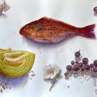 Poisson rouge et fruits - Ljubica Mrkalj