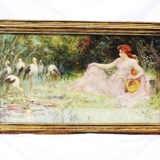 Frederick Stuart Church (American 1842-1924) Original Oil Canvas Lady