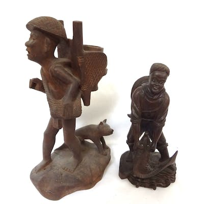 (2) Ethnic Folk Art Carved Figurines, All, >, Fine Art and Antiques, Ethnic 1