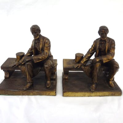 After Gutzon Burglum Brass Bookends Seated Abraham Lincoln, All, >