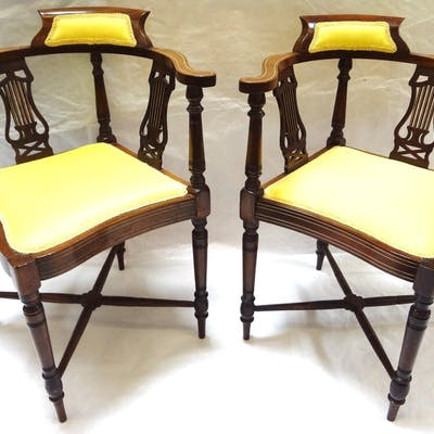 Pair of English Edwardian Style Corner Chairs, All, >, Fine Art and