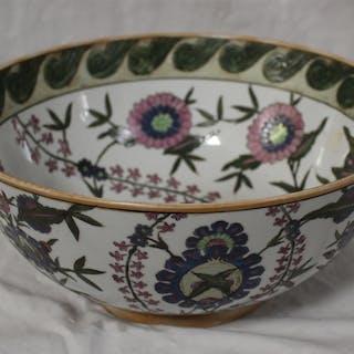 Large Chinese Enamel on Glazed Porcelain Bowl & Platter, All, >, Fine
