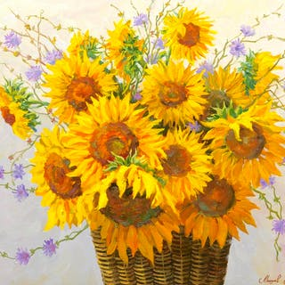 Andrei Victorovich (Russian b. 1969) Sunflowers Oil on Canvas, All