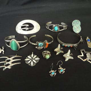 9f5cfdca9 Group of Mexico Sterling Silver and Turquoise Items, All, >, Fine
