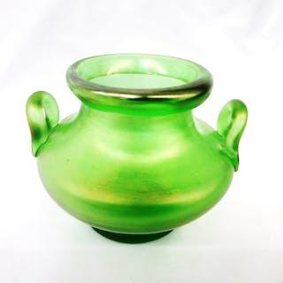 Loetz Two Handle Green Glass Squat Vase Original Paper Label, All