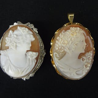 (2) 14k and 18k Gold Cameos, All, >, Fine Art and Antiques, Jewelry 1