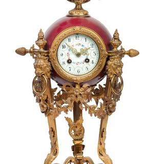 """A Historism Period bronze clock """"Lenzkirch"""""""