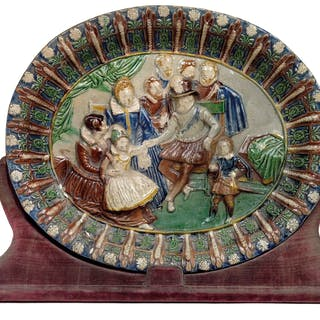 An oval footed dish, in the style of Bernard Palissy, France, 17th cent.