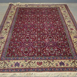 Red Ground Turkish Kayseri Type Carpet With Cream Boarder Closed Auction