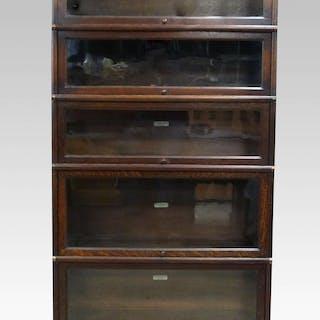 Oak Five Section Globe Wernicke Bookcase 177 X 87 Cm