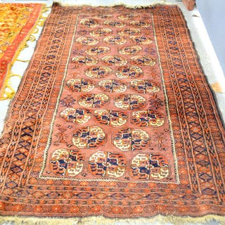 Red Ground Afghan Rug With Multiple Borders Cur S Barnebys Co Uk