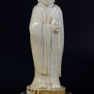 d174f3c3059f 19th century Chinese carved ivory figure of sage in a long robe holding a  bottle – Current sales – Barnebys.com