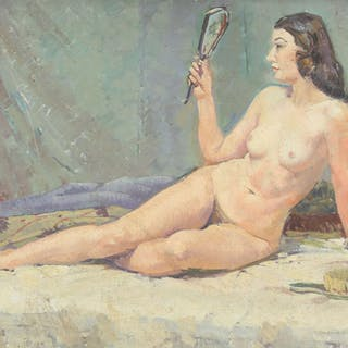Study of a nude holding a mirror