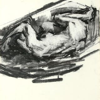 Study of a nude in the fetal position