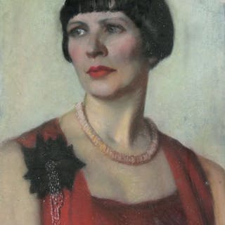 1920's potrait of a lady in a red dress unsigned pastel