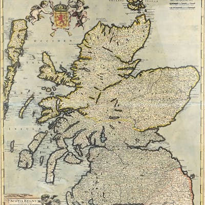 17th/18th century map of Scotland 'Scotia Regnum' by Frederick de Wit
