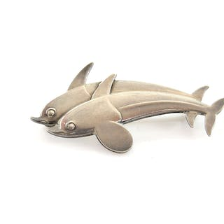 Georg Jensen double Dolphin brooch