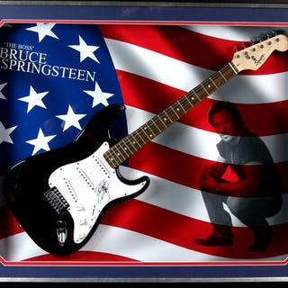 Bruce Springsteen signed Fender Squier Bullet Strat electric guitar