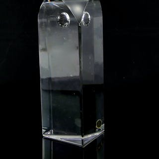 Clear glass Owl Obelisk by Yan Zoritchak for Val St Lambert
