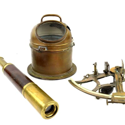 Early 20th century brass ships compass
