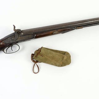 19th century percussion double barrel shot gun by G & J...