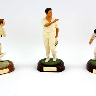 Cricket - Three Art of Sport figures to include Denis Lillee (Australia