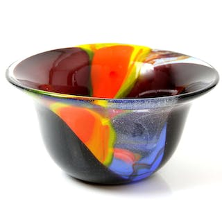Peter Layton flared rim bowl in a clear and plum coloured glass