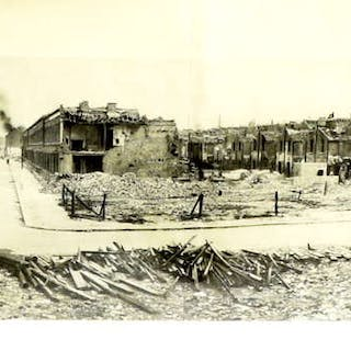 Panoramic print of Docklands during the blitz