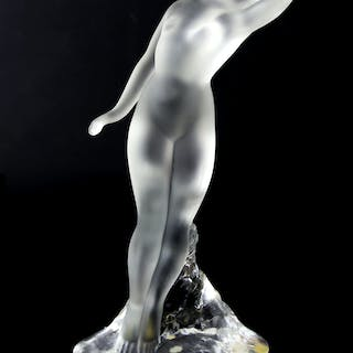 Modern Lalique frosted glass nude female figurine on a clear glass base