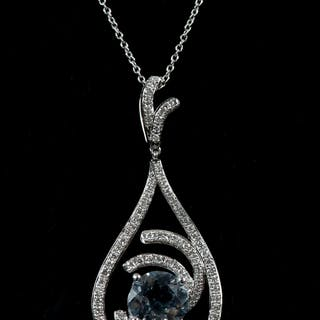 Aquamarines and diamond pendant
