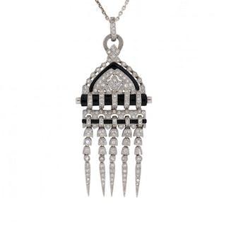 Art Deco-Inspired 2.50 Carat Diamond and Onyx Pendant