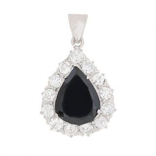 Black 2.53 Carat Diamond With Halo Pendant