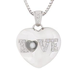 Diamond Heart and 'Love' Pendant